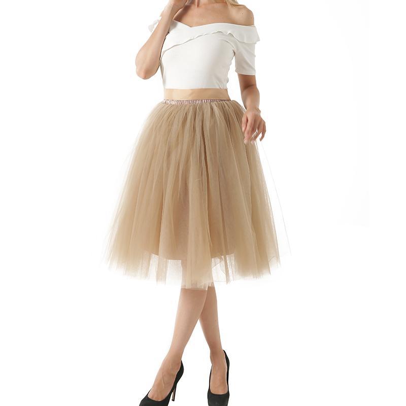 d0eb07625 5 Capas Midi Faldas de tul para mujer Moda Tutu Falda Elegante Boda Novia  Dama de honor Falda Lolita Underskirt Enagua Enagua Y19050602