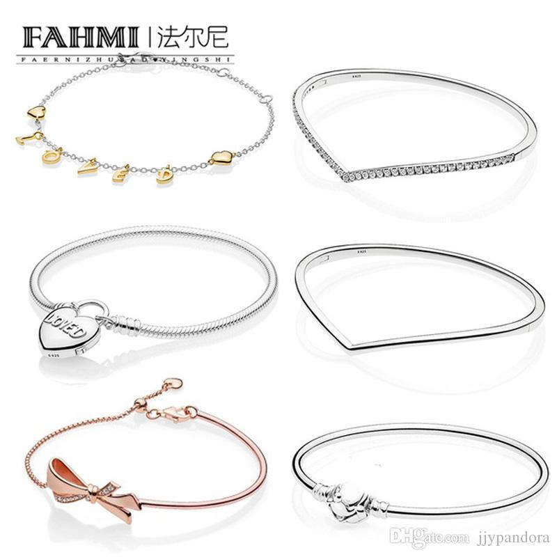 39538a905 2019 FAHMI 100% 925 Sterling Silver Shine Loved Script Bracelet Shining  Wish Bangle Heart Padlock Clasp MOMENTS Smooth Bracelet From  High_quality_silver_, ...