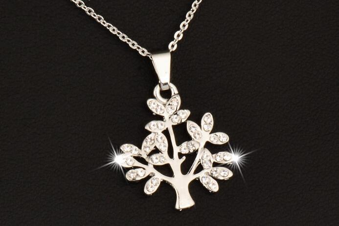 Moda Dileğiyle Ağacı Kolye Zinciri Kadınlar Gümüş / Altın Renk Kristal Kolye Takı Collares XL469 SSD