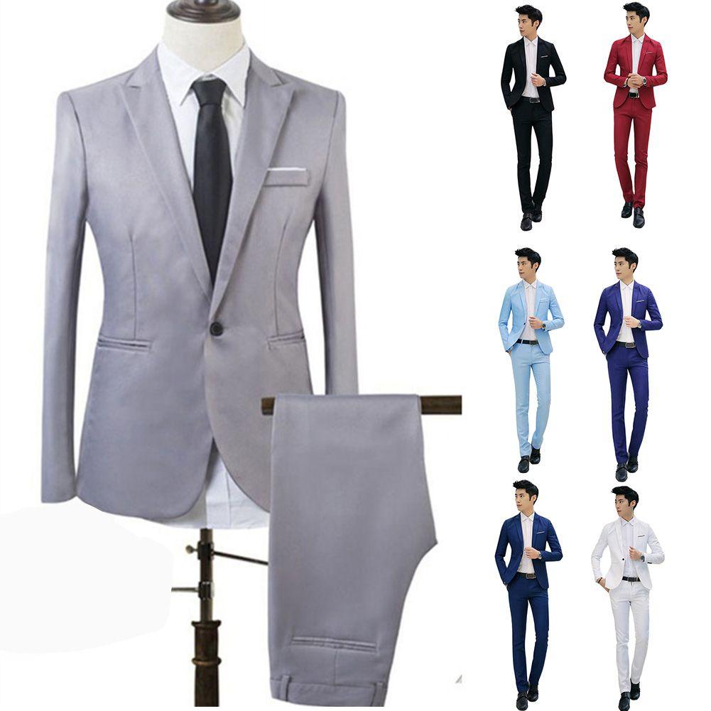 1a3961afb7 Acquista Nuovo Design Coat And Pant Suit Uomo Smoking Da Uomo Tinta Unita Uomo  Slim Fit Mens Tute Moda Coreana Giacche + Pantaloni A $41.01 Dal Cluboutfit  ...