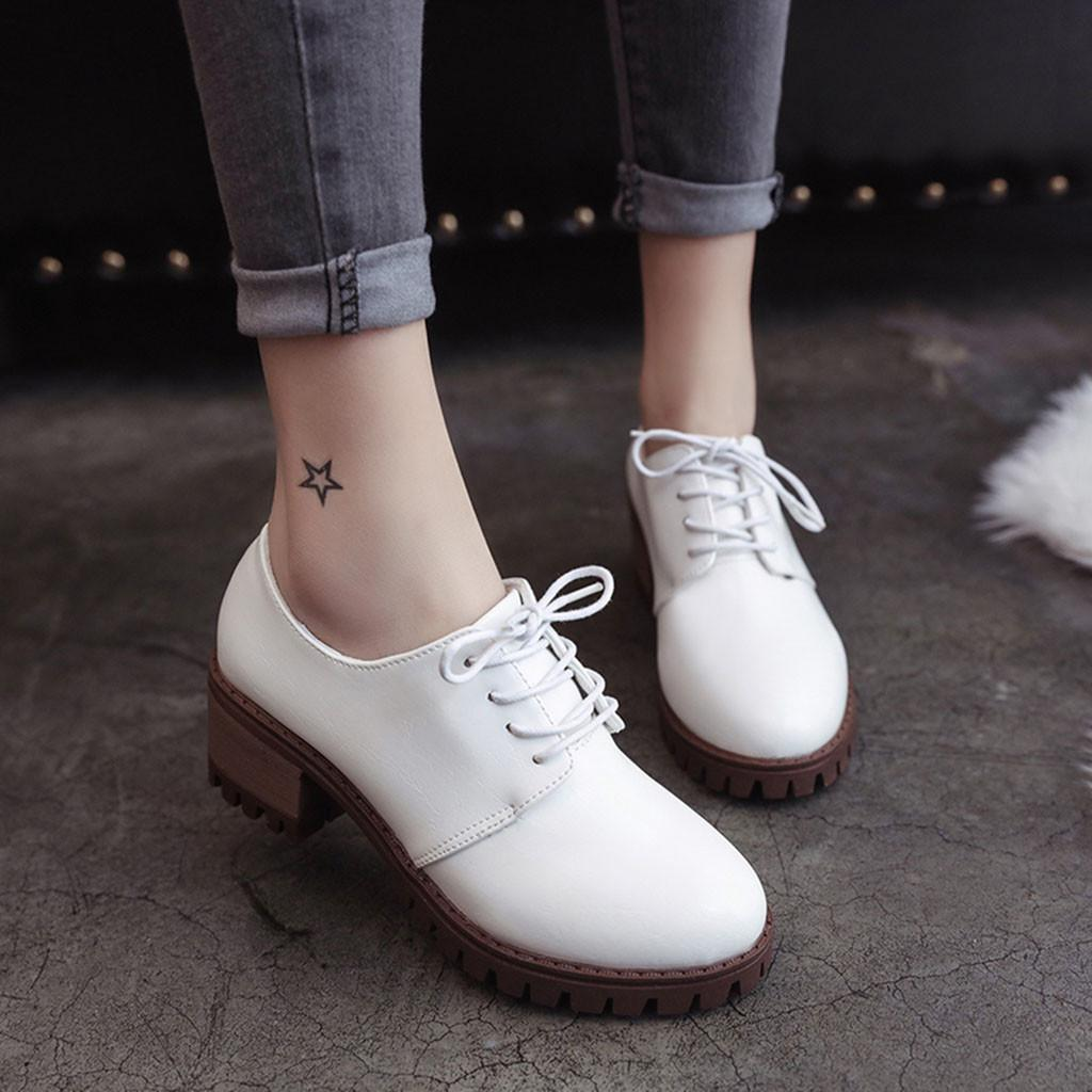 610752b9ddb2 Designer Dress Shoes Women Ladies Fashion Lace Up Round Toe Casual Loafer  Leather Single Square Heel White Leather  xtn Stacy Adams Shoes Purple  Shoes From ...