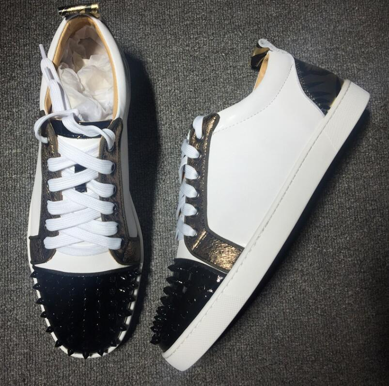 2019 Brand Designer Luxury Mens Red Bottoms Shoes Studded Spikes Low Flats Casual Sneakers For Men Wedding Party Dress Leather w070