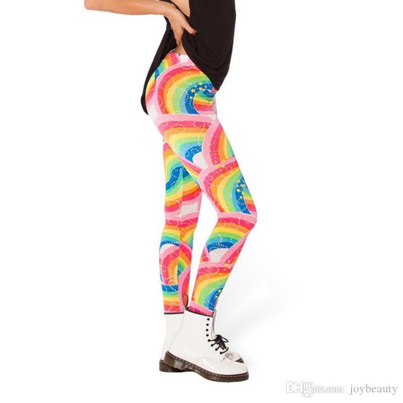 174514fe42ff8 Girl Leggings Rainbow 3D Graphic Full Printed Elastic Waist Band ...