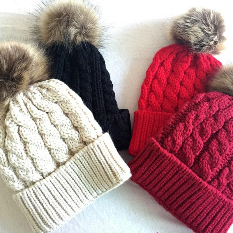 29b8c17fa7f 2019 Baby   Adults Faux Fur Ball Hats Cotton Pompon Bobble Warm Raccoon  Beanies Knitted Parent Child Winter Caps Xmas Gifts From Emmanue