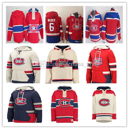 Customized Men's Montreal Canadiens Hoodie Shea Weber Carey Price Max Domi Brendan Gallagher Jonathan Drouin Richard Lafleur Red Sweatshirt