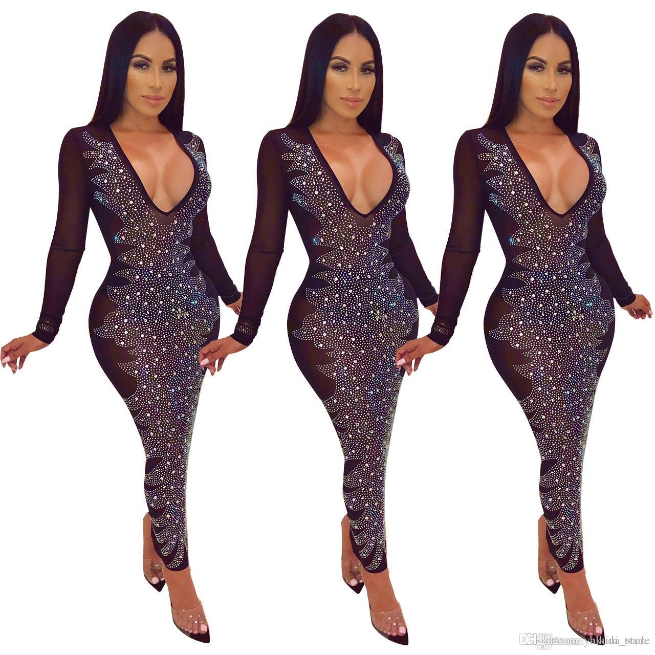 cfccbccf1 Elegant Diamonds Sheer Mesh Bodycon Maxi Dress Women Sexy Deep V ...