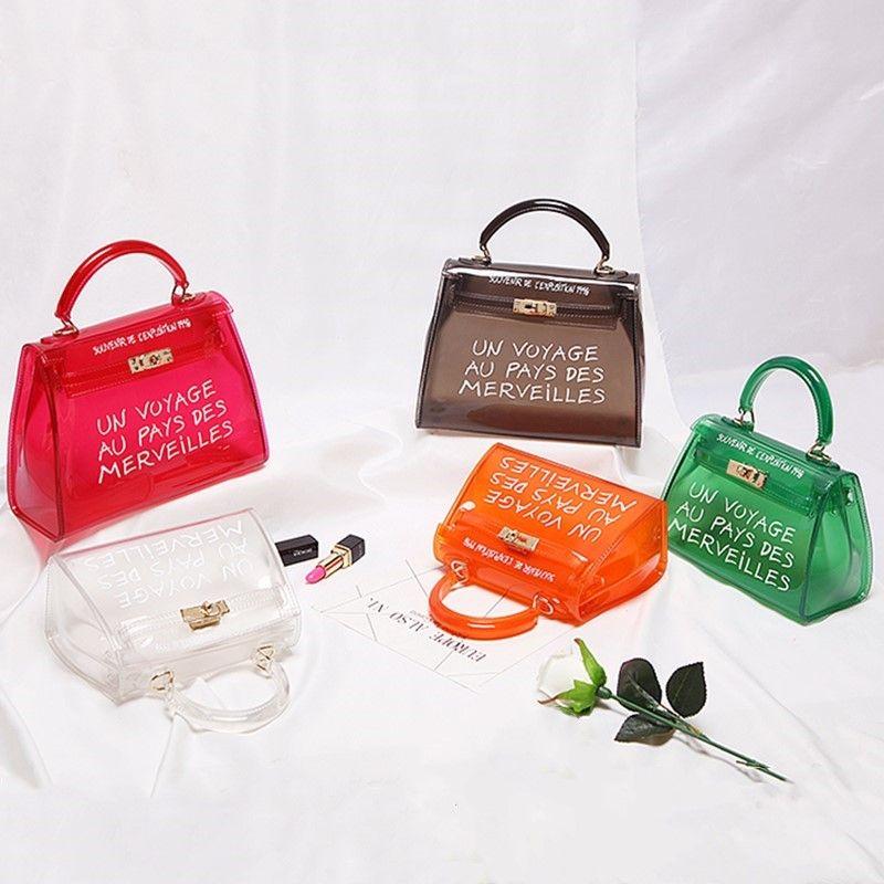 448240780d123 Satın Al Satchel Çanta Kadın Çantası Temizle Jelly Şeffaf PVC Çanta Şeker  Renk Bez Çanta Tasarımcısı Bolsa Kadınlar Için Crossbody Çanta, $35.32    DHgate.