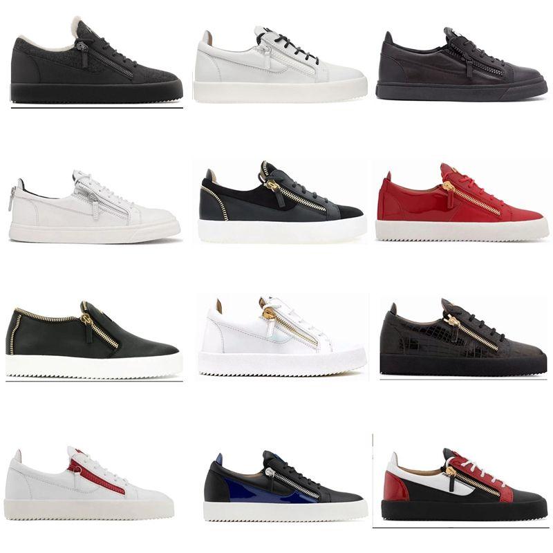 2019 hot new Zanotti zipper Women men Shoes Hot Sell Black Running Shoe Casual Luxury Zip Sneakers Ladies Leather Low help Shoes