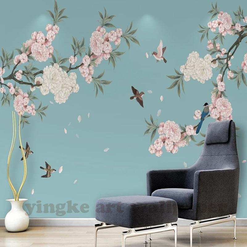 chinese style murals 3D wallpaper for walls living room TV backdrop bedroom wall painting flower birds 3D wallpaper decoration