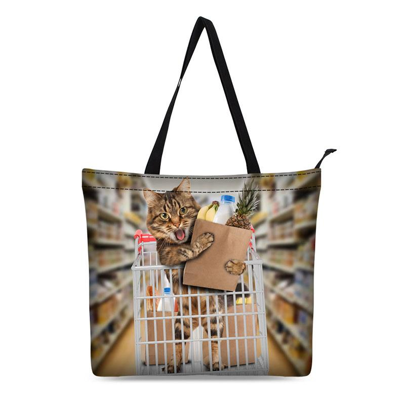 Canvas Shopping Bag Personalized Tote Bags Shoulder Bag 3d Animal Cat Design Black Grocery Cotton Handbag Black
