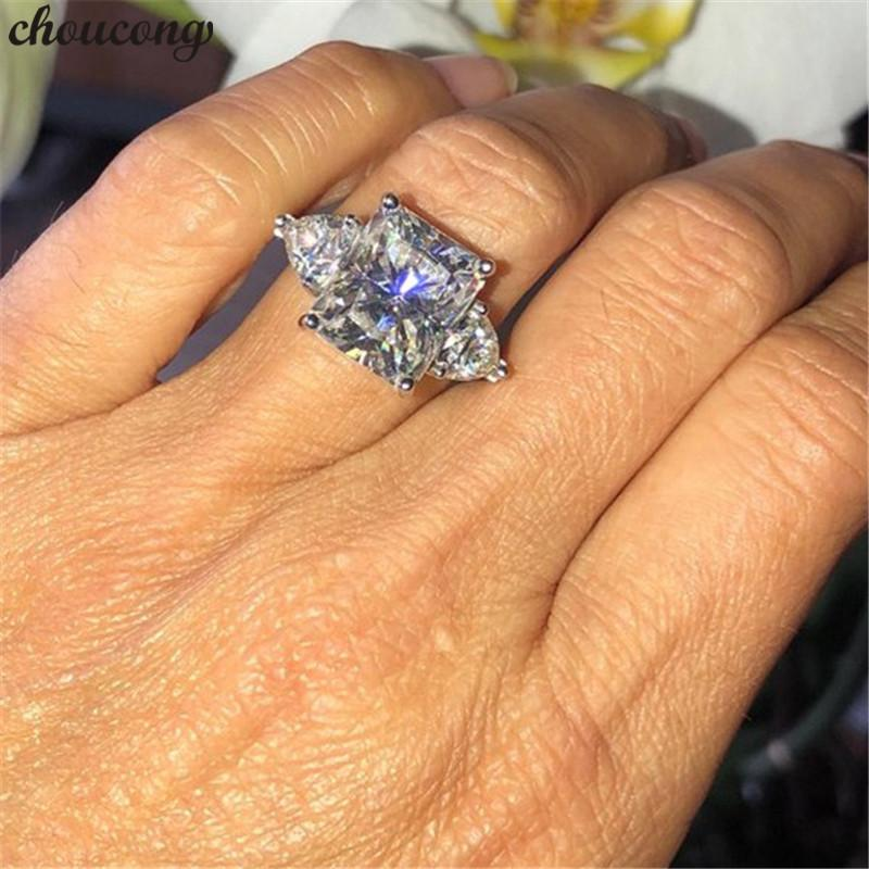 2048d1b2523ea wholesale Classic Ring 925 sterling Silver Princess cut 3ct AAAAA Zircon cz  Engagement Wedding Band Rings For Women Jewelry Gift