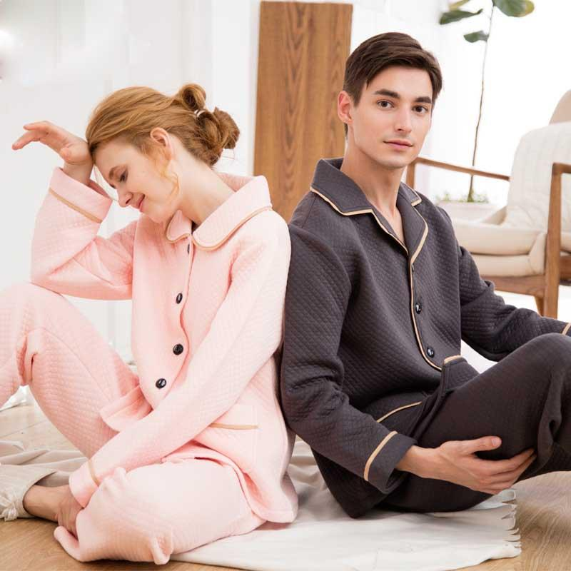 55280f34017e 2019 Winter Thick Warm Sandwich Cotton Couple Cotton Coffee Pajamas Thin  Three Layer Men And Women Home Sleep Clothes Set From Adeir