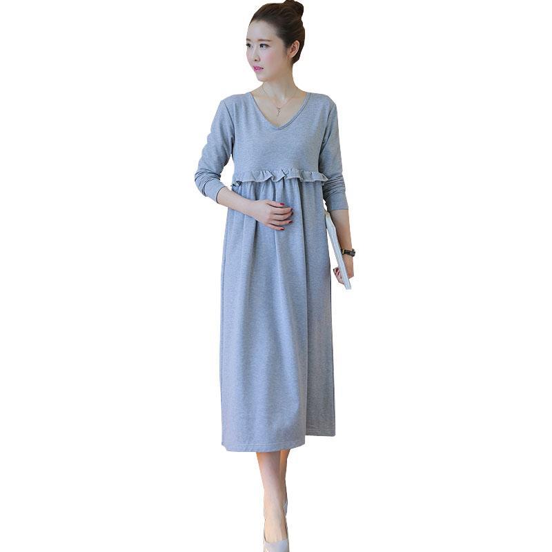 Nursing Maternity Dress For Feeding Autumn Long Sleeve Dresses Pregnant  Women Clothes Breastfeeding Pregnancy Clothing Plus Size