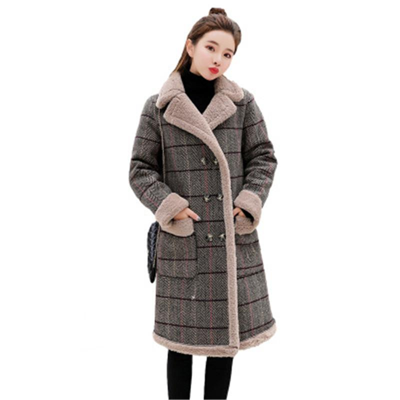 Stylish clothes padded jackets woman Checkered coat Add wool Warm jackets  Women s top winter clothing Trending products B4163