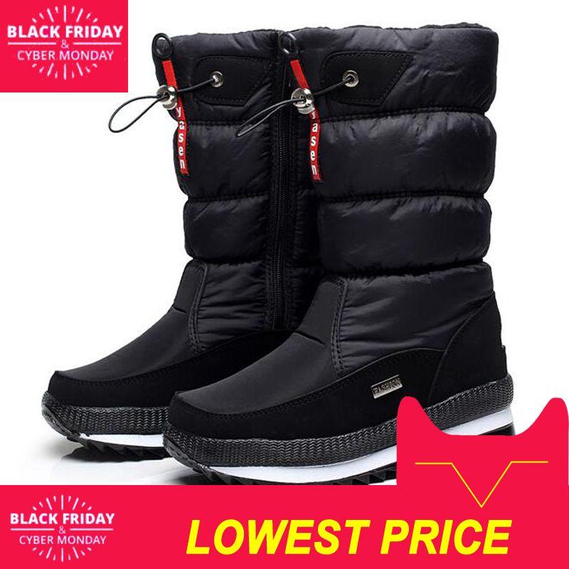 7966c8f36 Compre 2019 Nuevo 2018 Botas De Mujer Plataforma Zapatos De Invierno Gruesa  Antideslizante Botas De Nieve Impermeables Para Mujer Botas Mujer A  41.05  Del ...