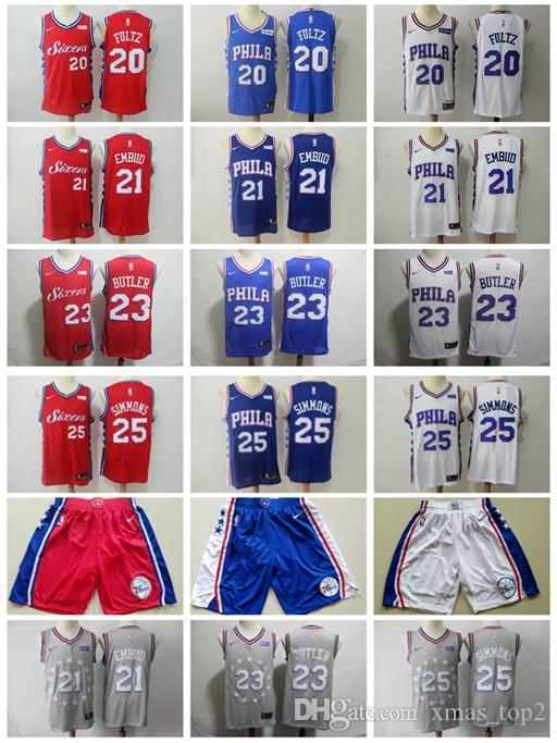 372cf4ae1e9 2019 New City Edition 76ers Basketball Jersey 25 Ben Simmons 21 Joel Embiid 20  Markelle Fultz 23 Jimmy Butler Jersey 76ers Basketball Shorts Markelle Fultz  ...