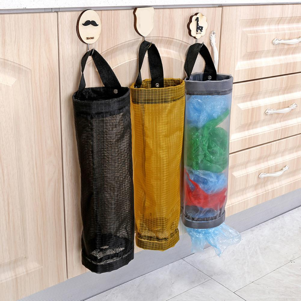 Dropshipping Home Grocery Storage Bag Holder Wall Hanging Bag Kitchen  Storage Dispenser Plastic Kitchen Organizer
