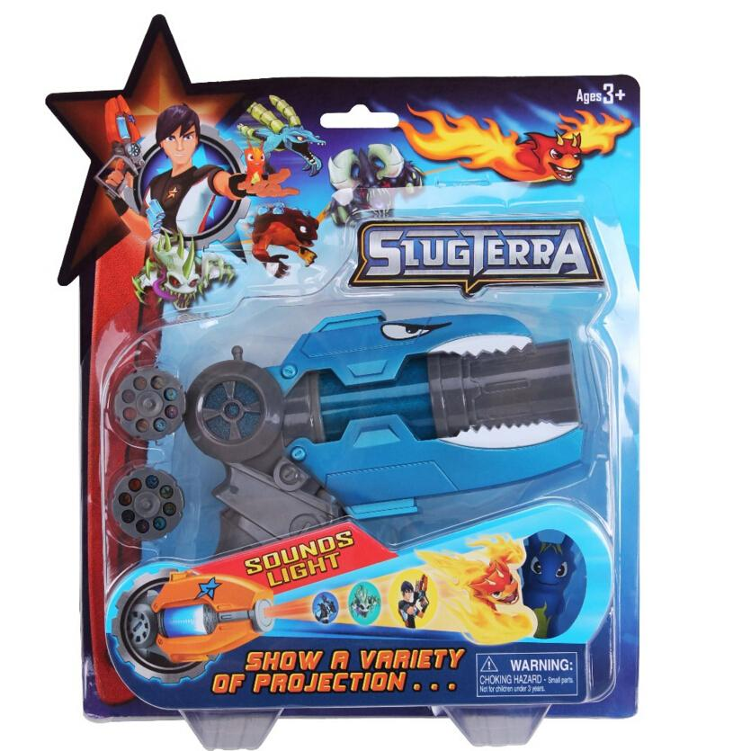 [TOP] 23CM Anime Slugterra Sounding Light Toy Gun Give 1 Slugterra Doll Action Figure As Presents Boy Projection Pistol Gun gift