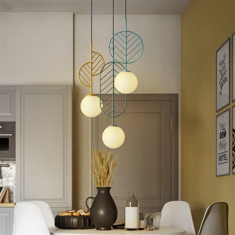Simple Macarons Colgante Nordic Leaf Lámpara Led Compre Style F1uJclKT3