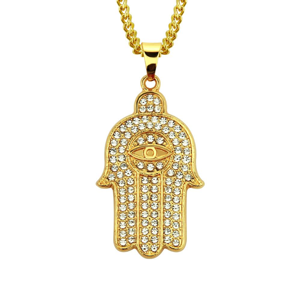 Selfdesign Hip hop pendant necklace Crystal rhinestone Hiphop pendant necklace for men hand eye shape gold jewelry wholesale