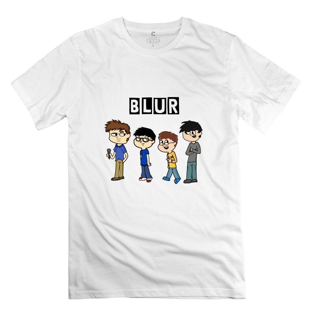 779e21aa4 fashion Cartoon Blur Band logo t-shirt rock Men's White Tees T-Shirt  Clothing