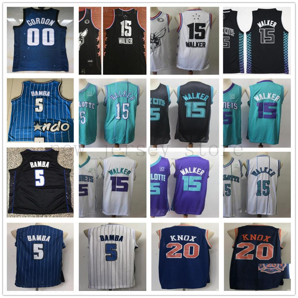 more photos 34cd8 c8ec0 Stitched Charlotte Kemba 15 Walker Basketball Jersey Top Quality Blue City  Kevin 20 Knox Aaron 00 Gordon Mohamed 5 Bamba Jerseys