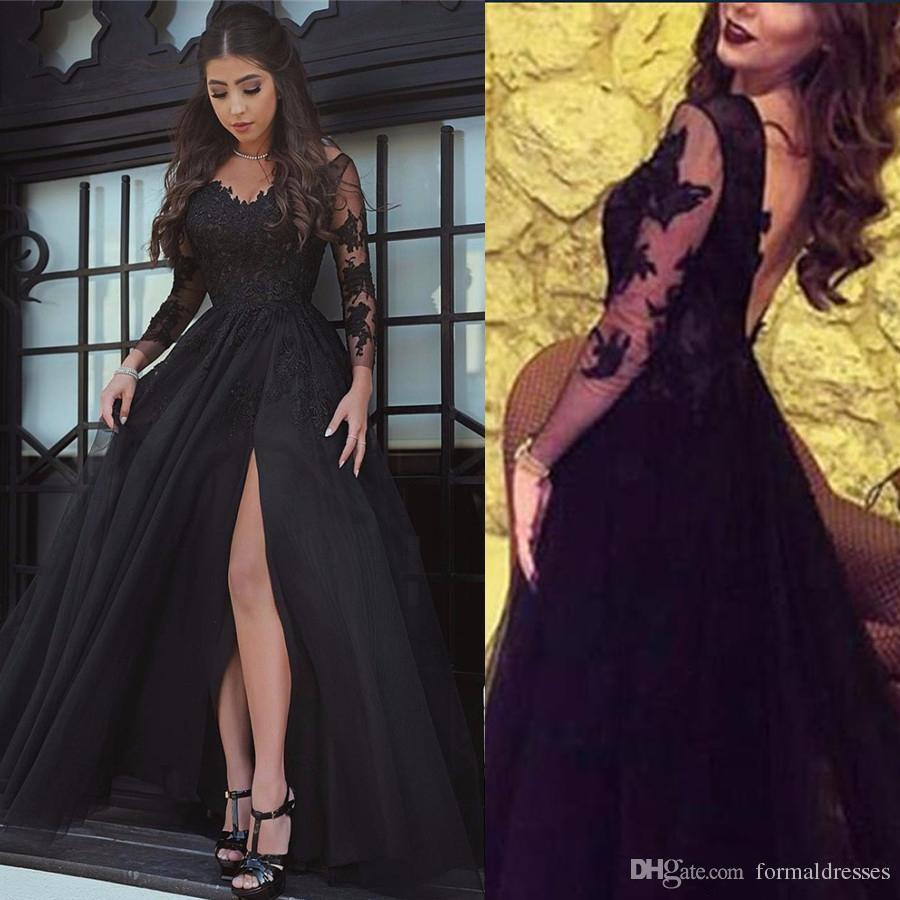 24f9dbf2e445 Black Girl African Prom Dress Long 2019 V Neck Lace Applique Backless A  Line Boho Front Split Party Homecoming Gown Evening Wear Cheap Prom Dresses  Kids ...