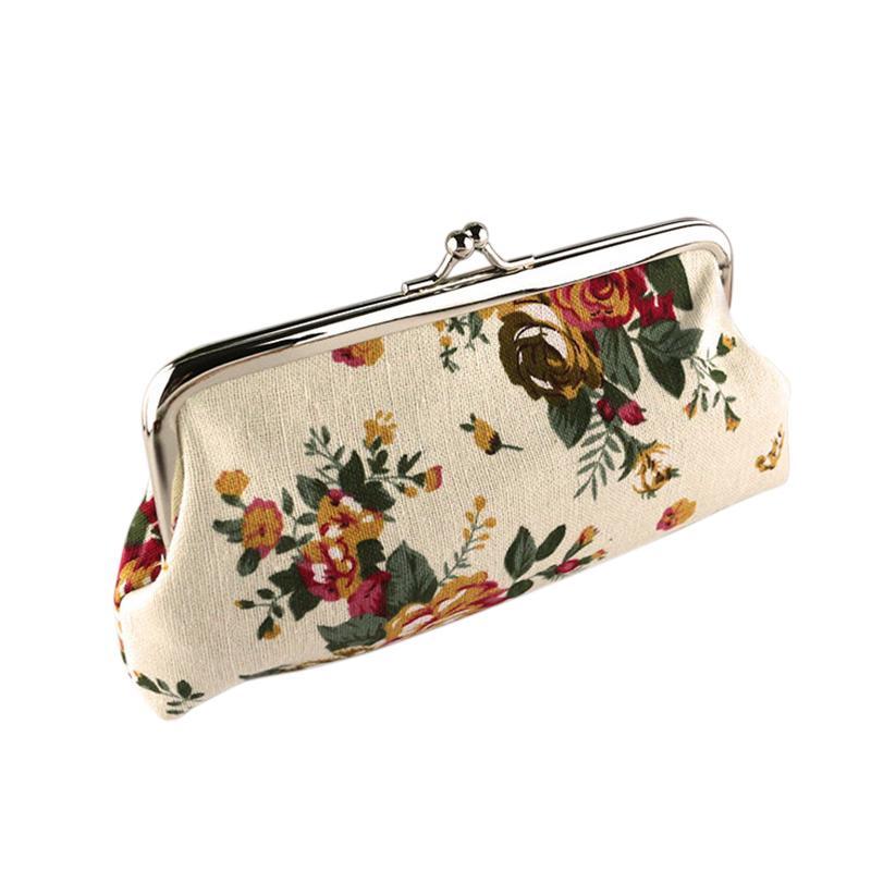 Ladies Fashion Canvas Floral Purse Button
