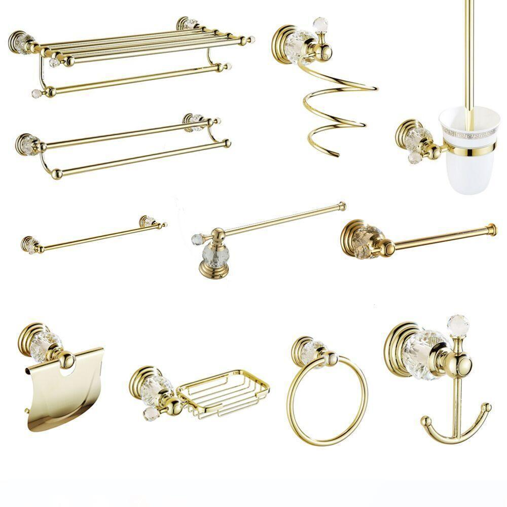 Crystal Bathroom Products Towel Rack Solid Brass Bathroom Hardware Sets Gold Polished Accessories Wall Mounted
