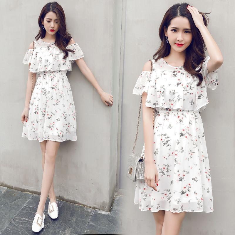 90e0f4270 2019 ropa de verano para niños niña vestidos de gasa floral adolescente 15  17 años blanco adolescente vestido de ropa para niñas
