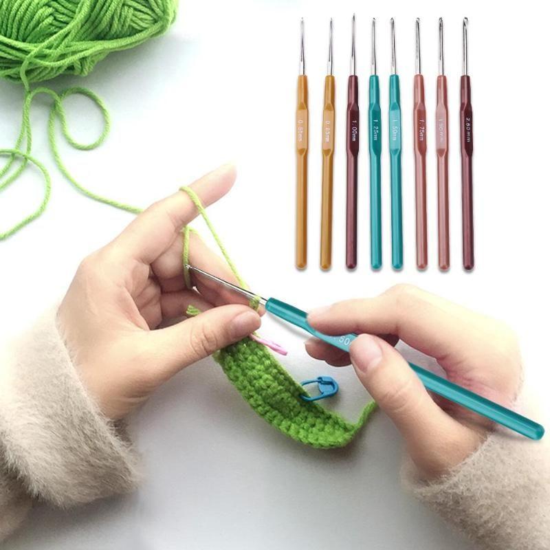 Knitting Needles Crochet Hooks Tool Plastic 0.65/0.8/1.0/1.25/1.5/1.75/1.9/2.5 mm Sweater Sewing Needles Kit X