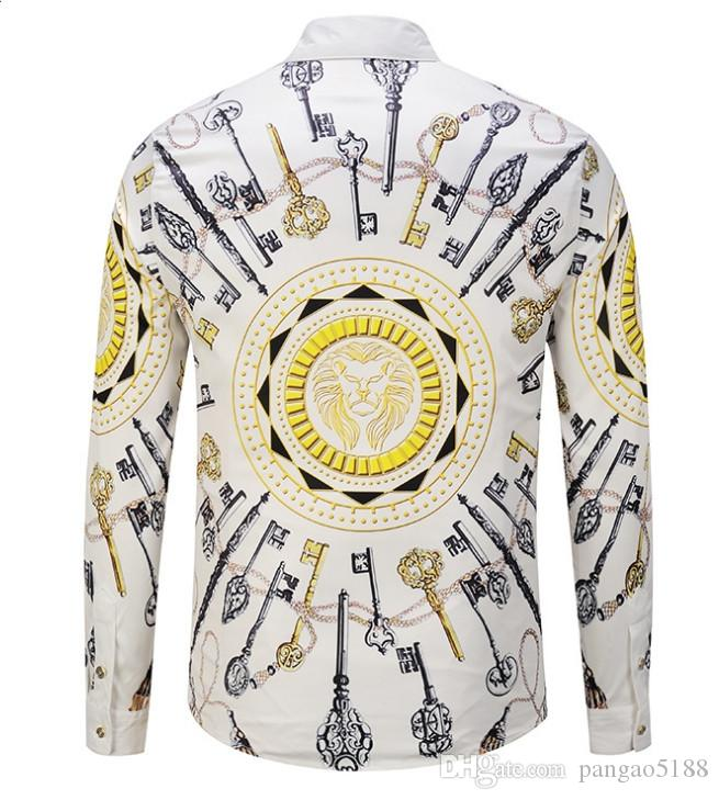 Men's shirts The latest high-end brand designer in the world designs 3-D printed long-sleeved men's shirts new370#