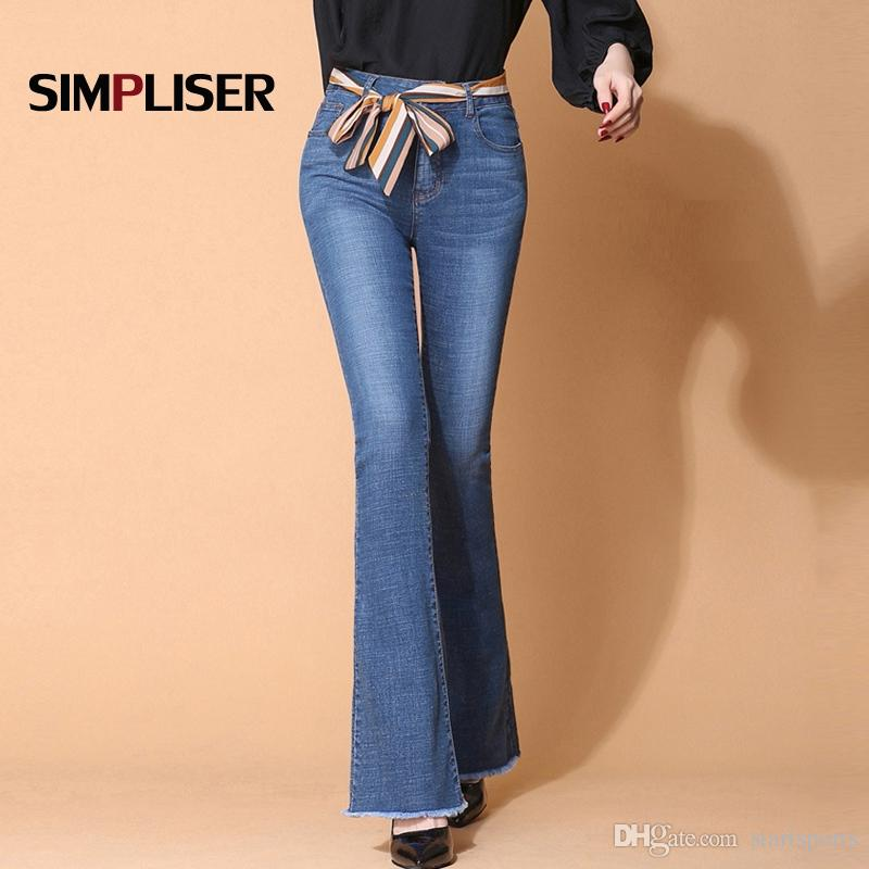 4a899639300dad 2019 High Stretch Women Flared Jeans Pants Plus Size 32 Female Slim Fit  Denim Blue Trousers Hip Push Up Femme Pantalon Full Length #566231 From  Startsports, ...