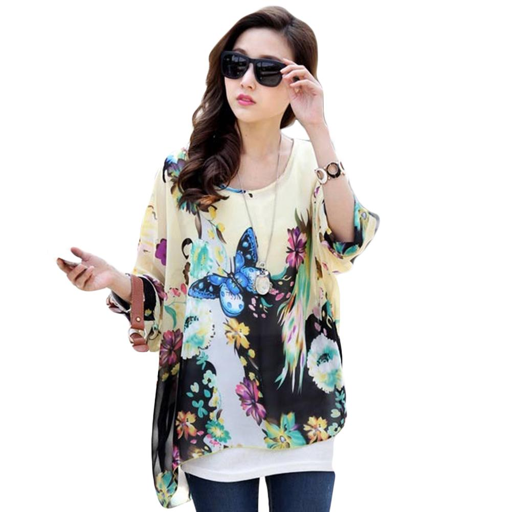 c550bc717ce4ac 2019 Women Batwing Dolman Sleeve Chiffon Shirt Loose Bohemian Printing Tops  Oversized Blouse Three Quarter Sleeve Light Blue From Griseldala