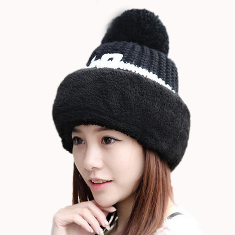 08afa38e7 Big Pompom Ball Knitted Hat Women Windproof Ear Flaps Thick Velvet Skullies  Beanies pink Bib Winter Warm Caps Ladies Drive Wear