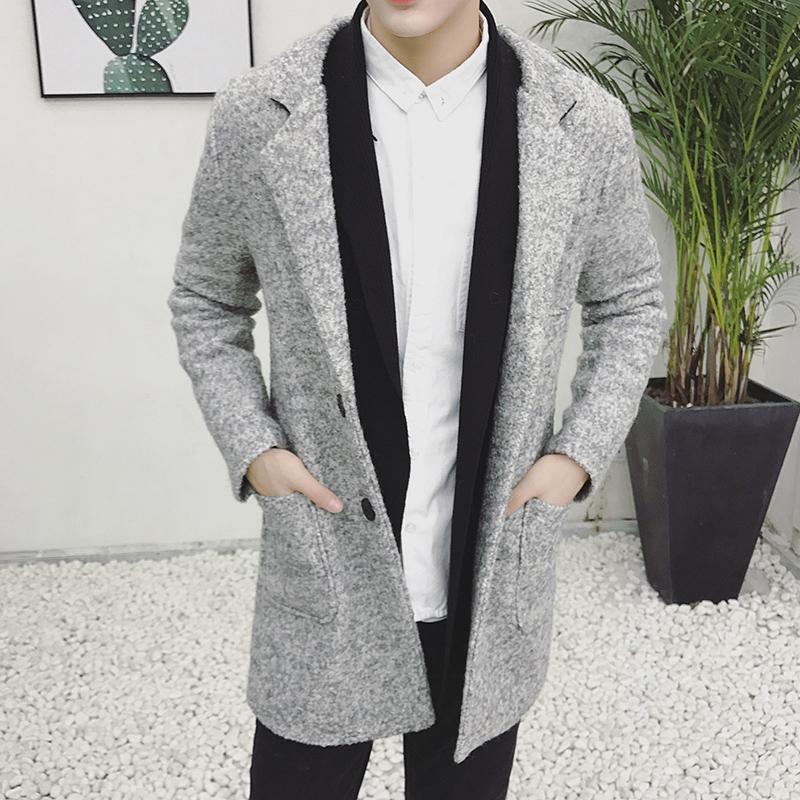 fe97a4984d05 Großhandel 2018 Herbst Und Winter Neue Herrenmode Boutique Wolle Woolen  Casual Business Mantel Jacke   Herren Grau Stehkragen Wollmantel Von  Amandal, ...