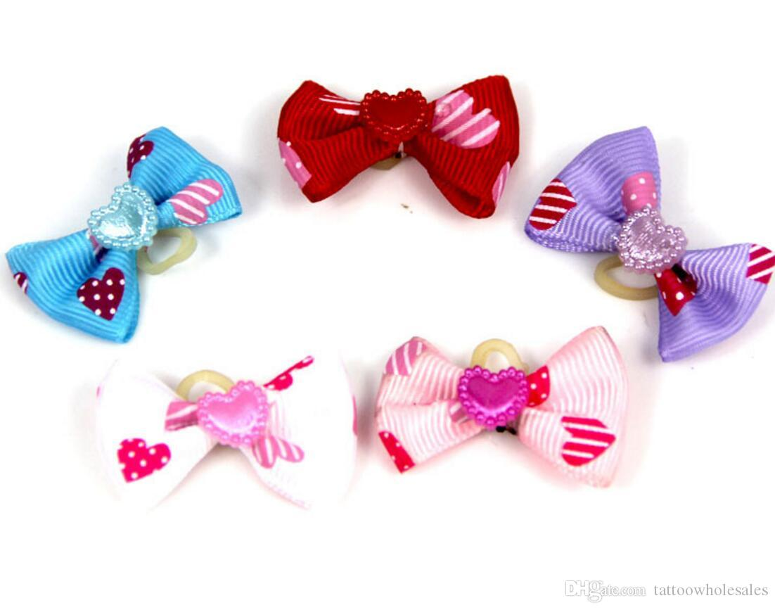 New cute lovely Pet Cat Dog hearts accessories hairpin Hair Bows with Rubber Bands Grooming Accessories Cute Pet Headwear Costume