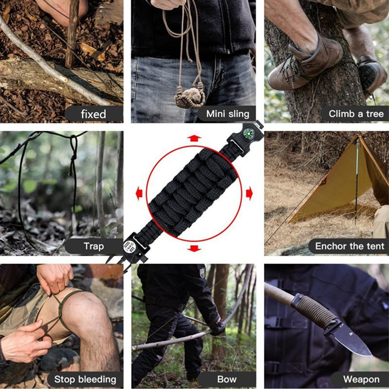 EDC Multi Tools Survival Kits Paracord Knife Camp equipment Survive Multi Tools Rescue Bracelet paracord Outdoor knife paracord (12)