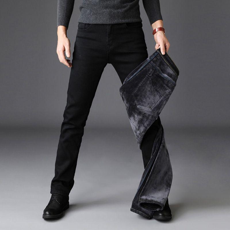 Compre 2019 Pantalones Vaqueros De Invierno De Los Hombres De Color Negro Slim  Fit Stretch Pantalones De Terciopelo Grueso Caliente Para La Moda Casual ... e412595494a