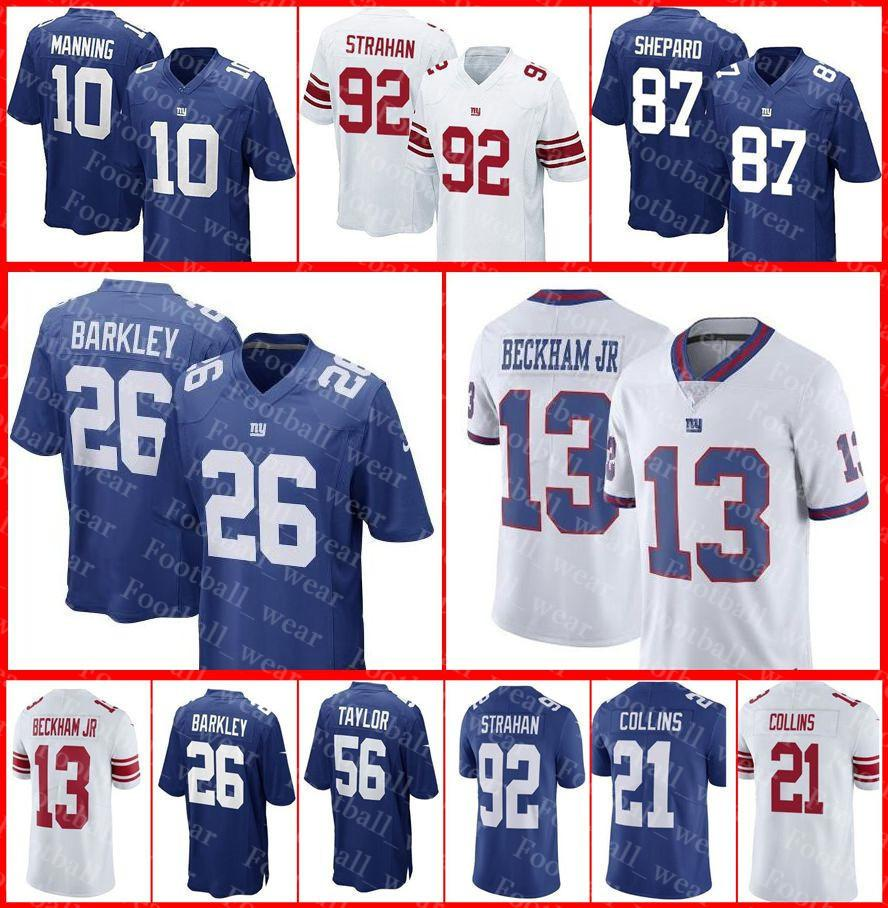 san francisco 87a4d 8229b Giants Jersey New York 26 Saquon Barkley 92 Michael Strahan 21 Jabrill  Peppers 15 Golden Tate Sterling Shepard Eli Manning Football Jerseys