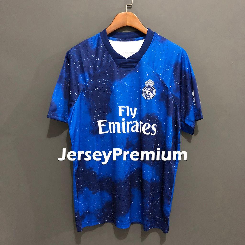 wholesale dealer e5cb6 e0cc7 Real Madrid X EA Sports Game 4th Football Soccer Jerseys Blue Shirts  Asensio Sergio Ramos Kroos Benzema Modric Bale Isco Varane Marcelo