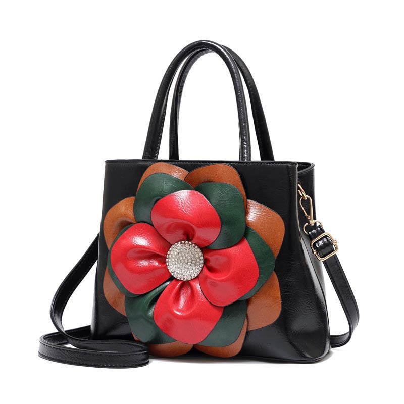 good quality Floral Shoulder Women Bag Antique Female Pu Leather Solid Shoulder Bags Small Cross Body Bag Casual Elegant Handbag