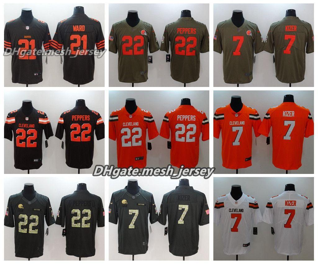 size 40 f7d1d 03474 Men Cleveland Jersey Browns 21 Denzel Ward 22 Jabrill Peppers 23 Damarious  Randall 7 Kizer Color Rush Stitching Football Jerseys