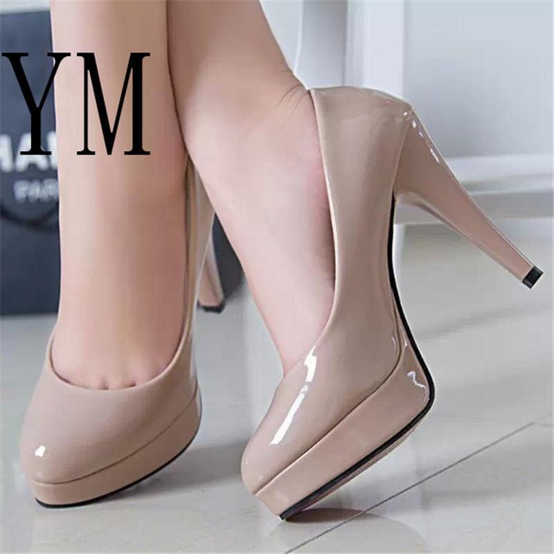 Fashion Mature Women Pumps Classic Patent Leather High Heels Shoes Nude  Sharp Head Paltform Wedding Women Dress Shoes Plus 34 42 Italian Shoes  Summer Shoes ... 2db05ebf6133
