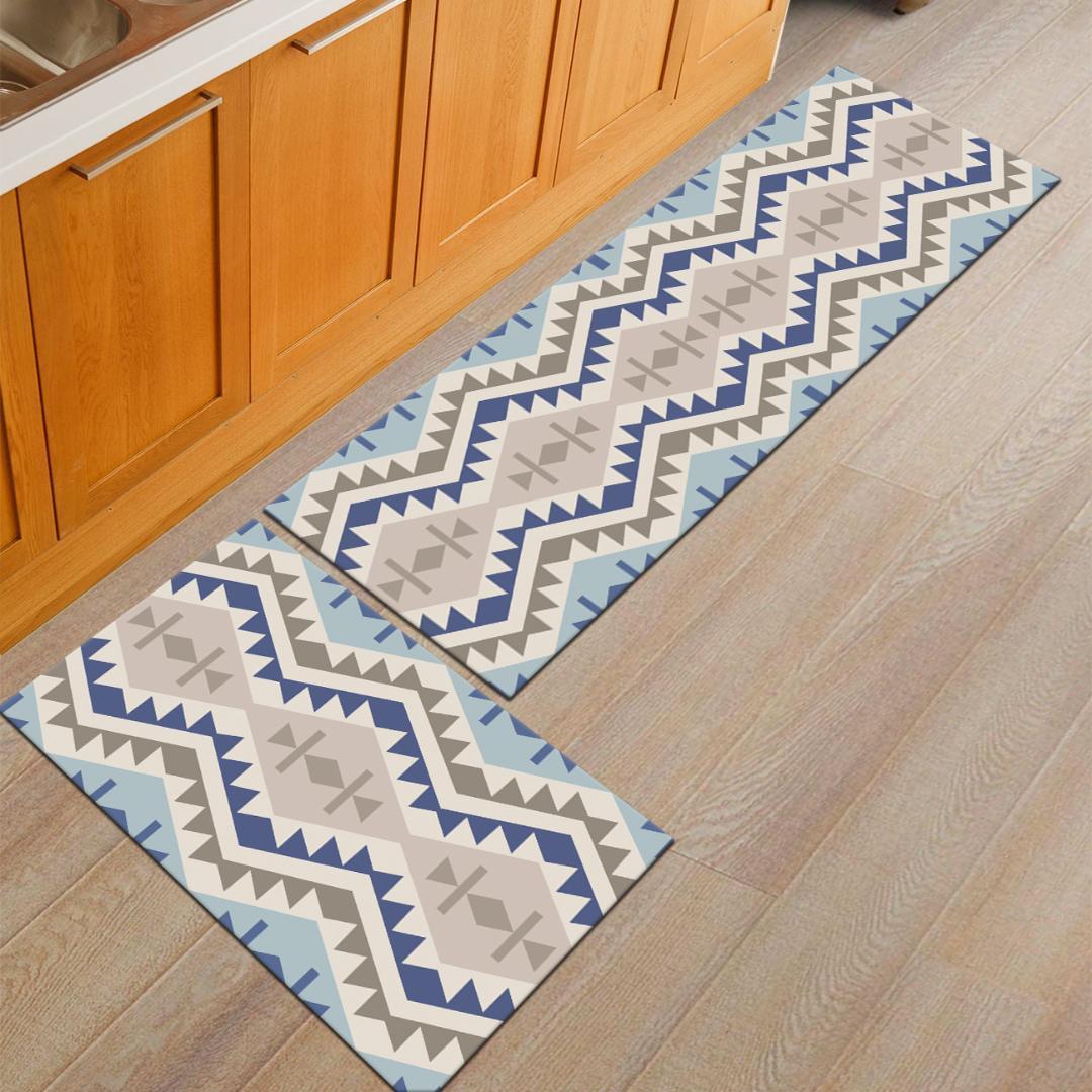 Zeegle Geometric Doormats Flannel Area Rug For Living Room Bedroom Bedside Mats Anti Slip Office Chair Floor Mats Kitchen Rugs