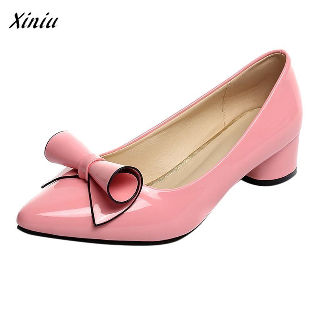 3e0ee2113 Compre Zapatos De Vestir Xiniu Zapatos De Mujer Moda Para Mujer Punto  Casual Punta Sin Cordones Trabajo Mujer Tacón Cuadrado Buty Damskie A   33.56 Del Deal8 ...