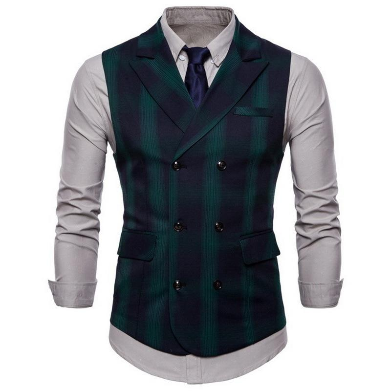 Lasperal Spring And Autumn Men's Suit Double-breasted Plaid Vest British Wind Double Pocket Lapel Large Size Men's Vest Y190417