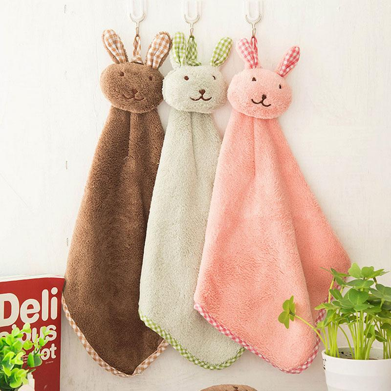 Carino adorabile tovagliolo animale della cucina appeso asciugamano morbido peluche Dishcloths mano Fazzoletto Torre Women Cotton Handkerchief