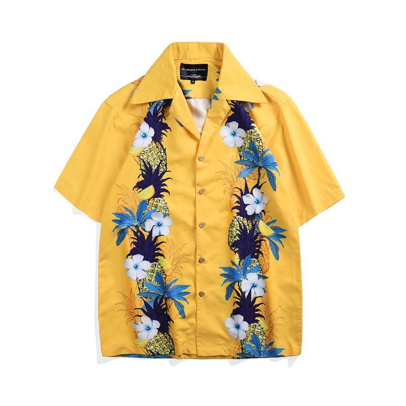 d56879a6 2019 pineapple Print Hawaiian Shirt Casual Streetwear Tropical Beach Men's  Shirts Summer Short Sleeve Loose Yellow Shirt Top men