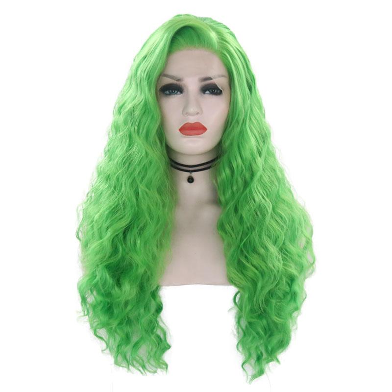 Fashion Green Long Wavy Hair Glueless Synthetic Lace Front Wig for Women Heat Resistant Fiber Hair Side Part Cosplay Party Wig